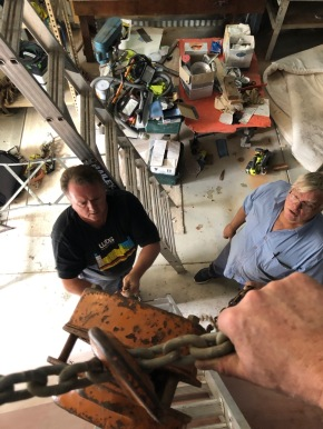 Marrack and Ian rigging the lift
