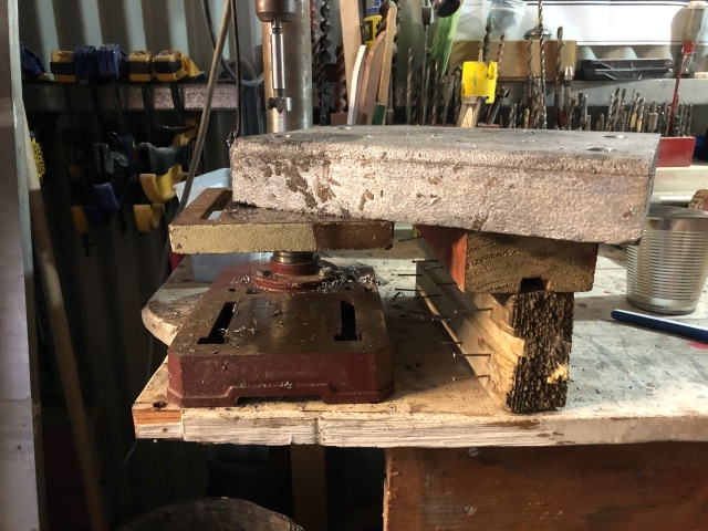 Drill press set up with the useless Forstner bit