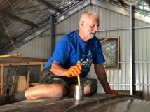 Robert working on the 'glassing